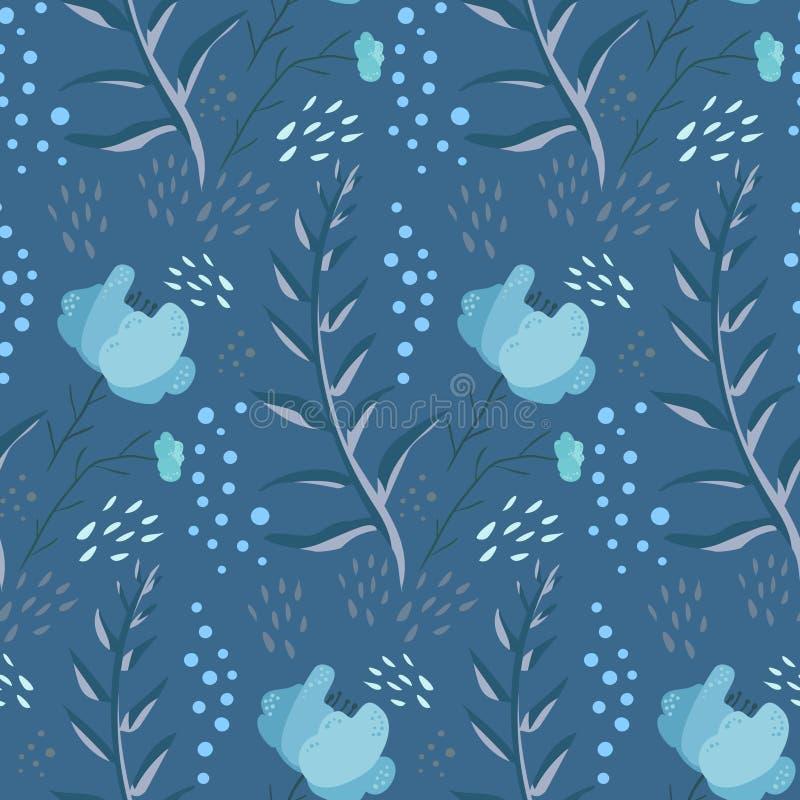 Czułego błękitnego fantazi doodle kwiecisty wzór ilustracji