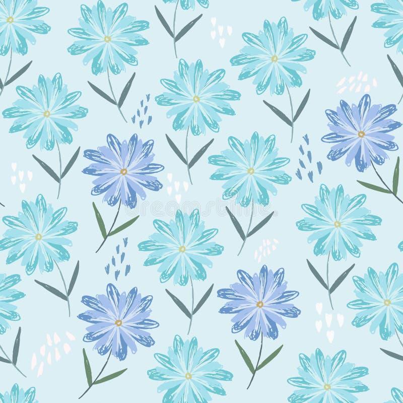 Czuły błękita wzór z dziecięcymi nakreślenie kwiatami royalty ilustracja