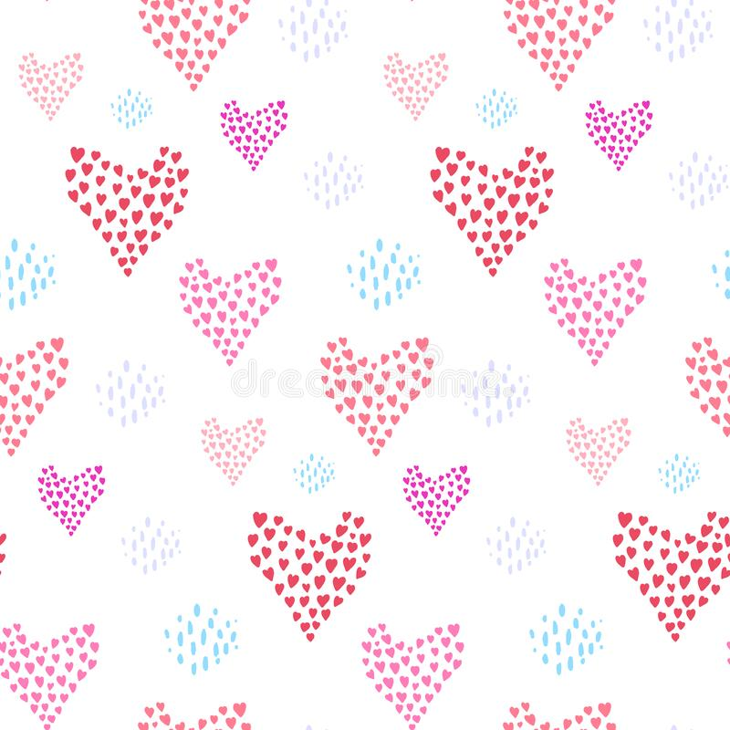 Czuły wzór z różowymi sercami i kropkowanym elementem ilustracji