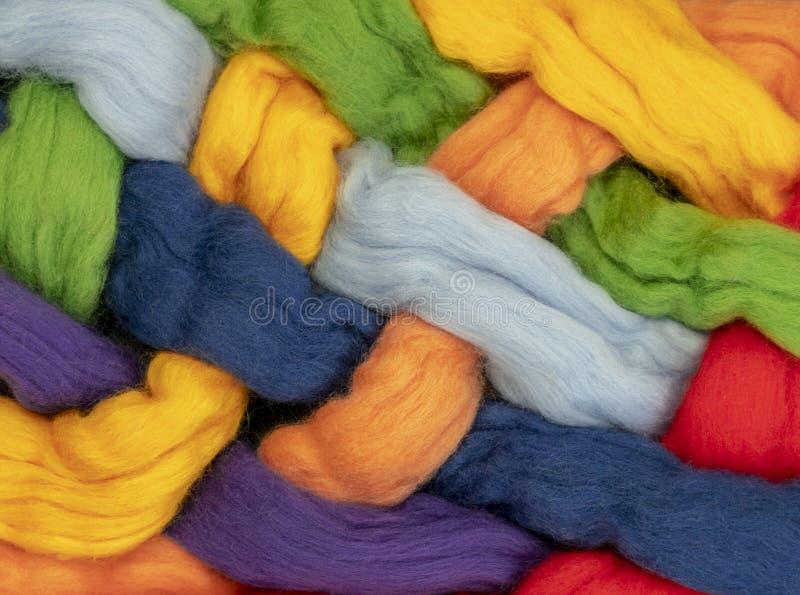 Czub włosy różni kolory przekręcający wpólnie tworzą kolory tęcza, konceptualna fotografia obraz royalty free