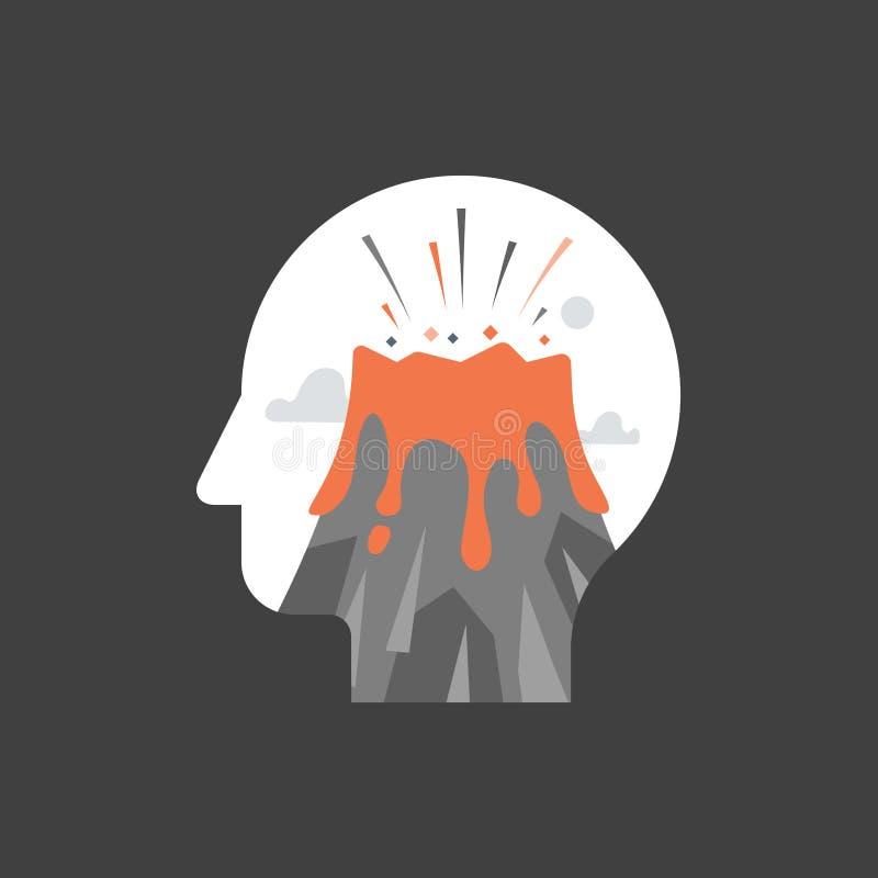 Czuciowy umysłowy napięcie, niszczycielskie myśli, doświadcza stres, atak paniki, histeryczny zachowanie, wulkan erupcja w głowie royalty ilustracja