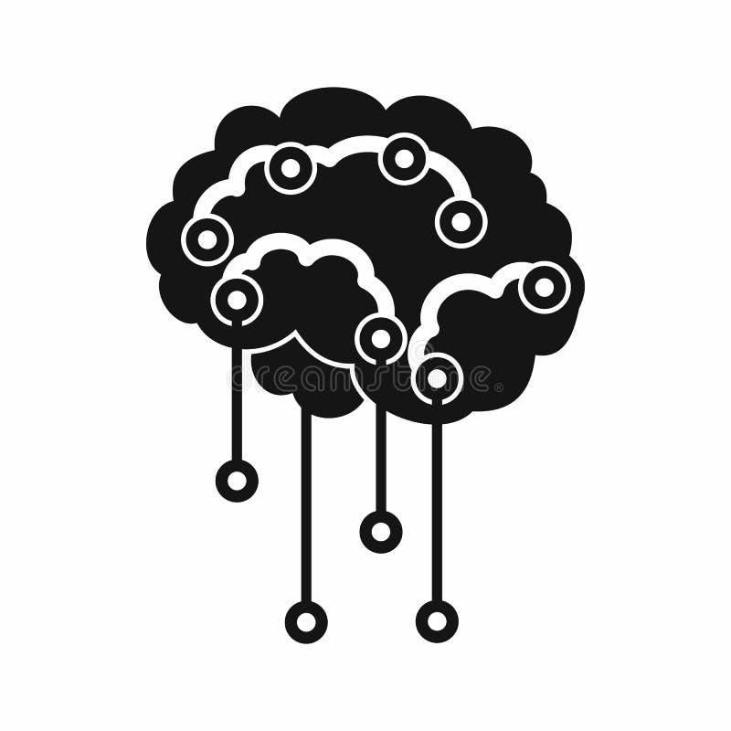 Czujniki na ludzki mózg ikonie, prosty styl ilustracja wektor