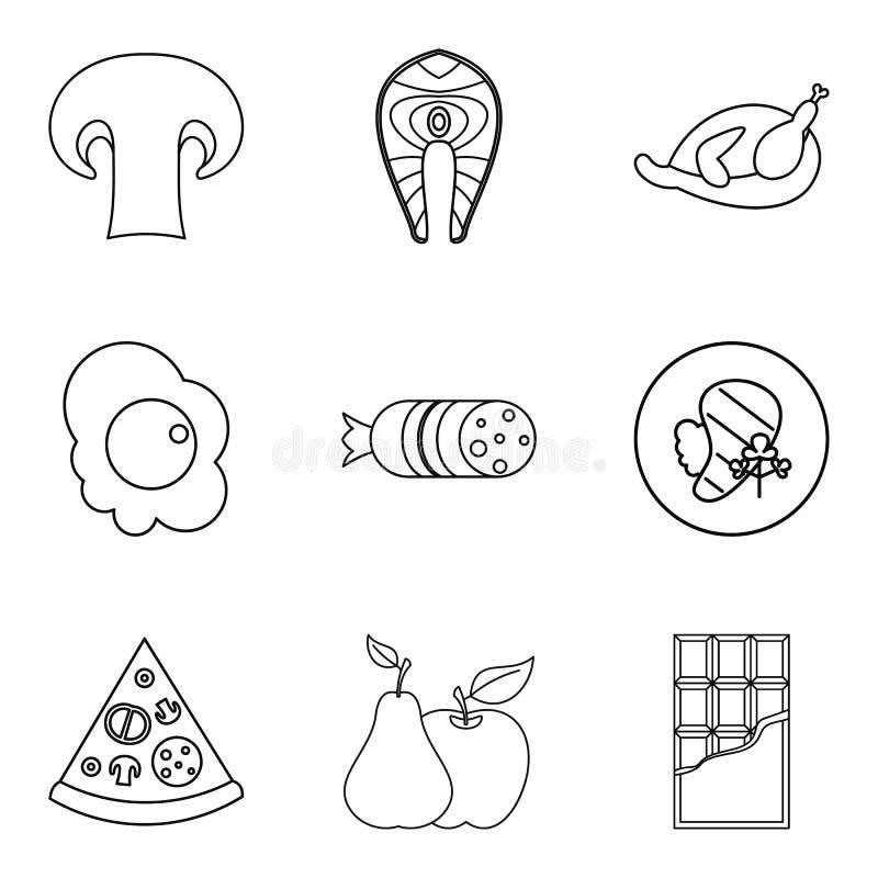Czule ikony ustawiać, konturu styl ilustracja wektor
