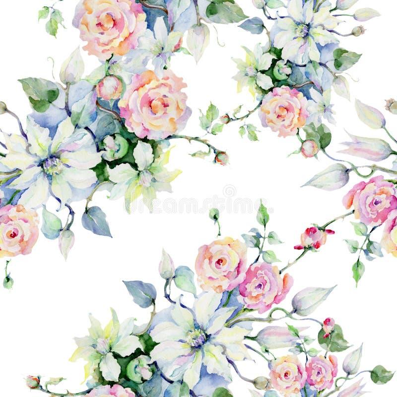 Czuli bukietów kwiaty Bezszwowy tło wzór Tkanina druku tapetowa tekstura royalty ilustracja