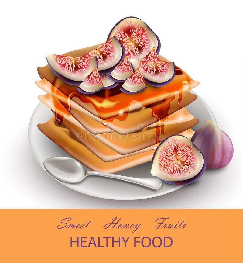 Czupirzy owoc Zdrowych śniadaniowych gofry Wektorowych ilustracja wektor