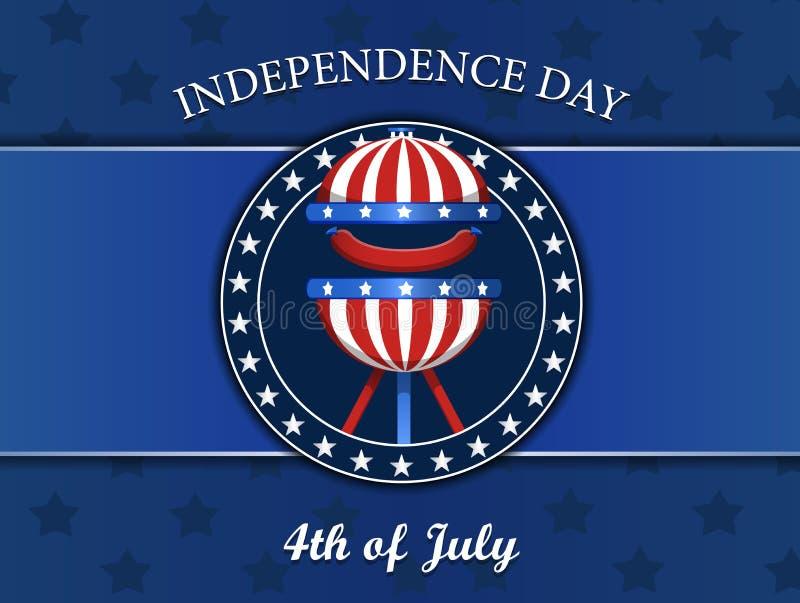 Czwarty Lipa dnia niepodległości pojęcie z grillem, bbq wektorowa ilustracja, odznaka, odizolowywająca na błękicie royalty ilustracja