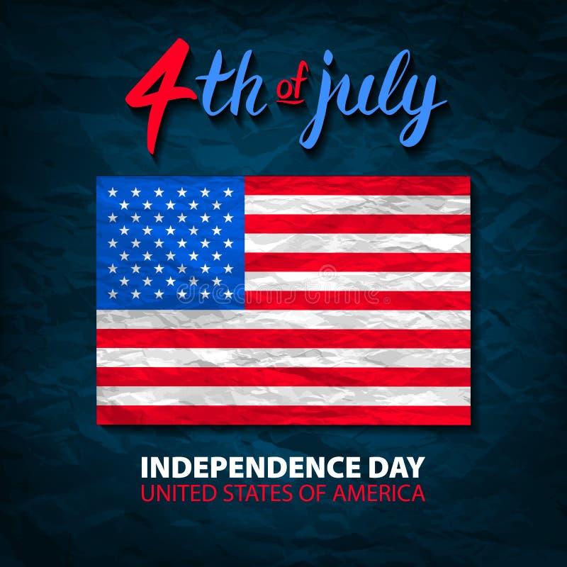 Czwarty Lipa usa dnia niepodległości kartka z pozdrowieniami 4 th Lipiec Stany Zjednoczone Ameryka świętowania tapeta Święto naro ilustracja wektor