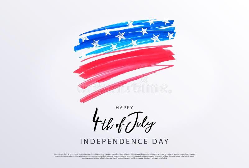 czwarty Lipca 4th Lipa wakacje sztandar Stylizowany wizerunek flaga amerykańska, rysujący markierami ilustracja wektor