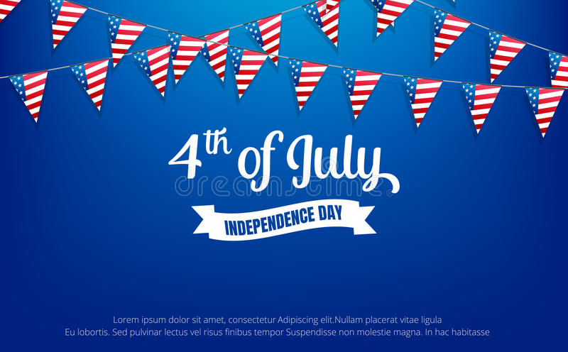 czwarty Lipca 4th Lipa wakacje sztandar USA dnia niepodległości sztandar dla sprzedaży, rabata, reklamy, sieci, etc ilustracji