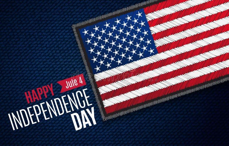 Czwarty Lipiec, Amerykańska dnia niepodległości wektoru kartka z pozdrowieniami Jule 4 USA flaga na cajg tkaninie wektor ilustracji