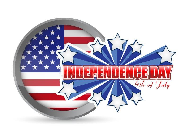 Czwarty Lipiec, dzień niepodległości foka ilustracji