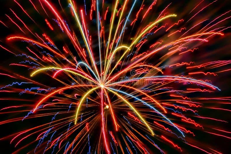 Czwarty Lipiec i nowy rok świętowanie zawsze zawieramy fajerwerki obrazy royalty free