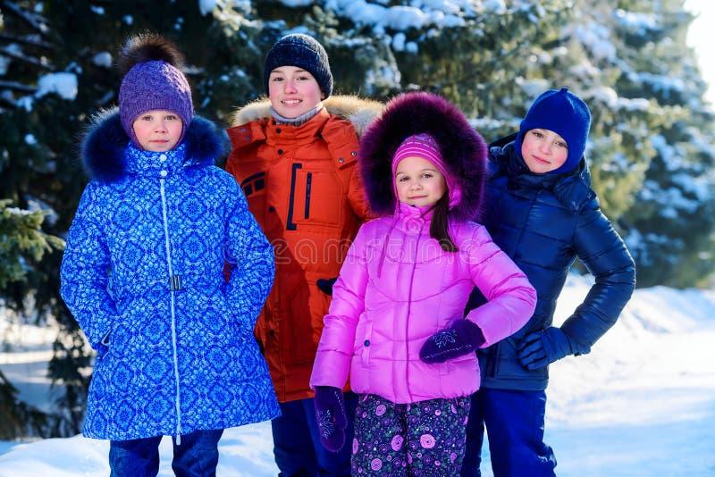 czworo dzieci szczęśliwi obrazy stock