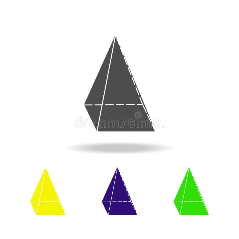 czworokątnego ostrosłupa barwione ikony Elementy Geometrycznej postaci barwione ikony Może używać dla sieci, logo, mobilny app, U royalty ilustracja