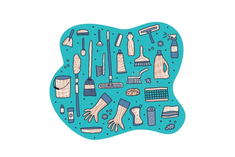 Czyści narzędzia Wektorowy ustawiający czyści wyposażenie ilustracji
