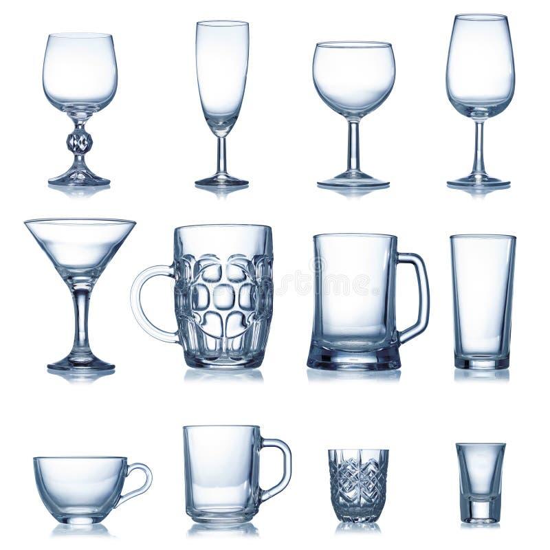 Czyścić glassware pustą kolekcję obraz royalty free