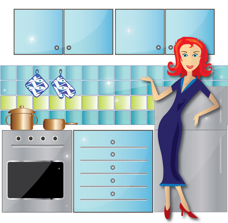 czyścić kuchnia royalty ilustracja