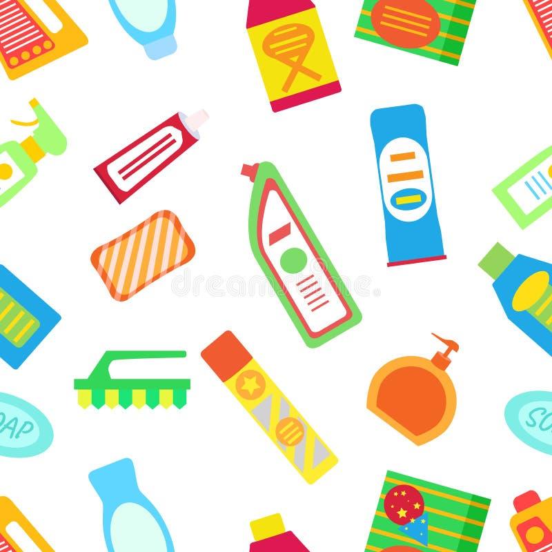 Czyścić ustawiam z butelkami, gąbką i kanisterem chemia, Mieszkanie styl ilustracji