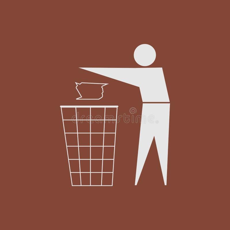 czyścić utrzymanie Żadny ściółka znak Biel na brązu tle wektor ilustracja wektor