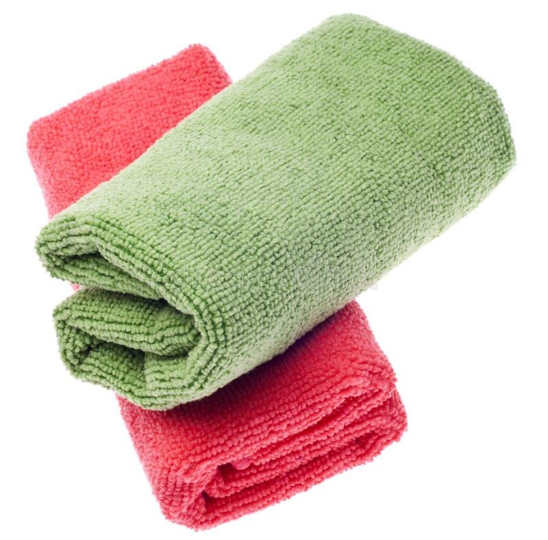 czyścić zieleni microfiber menchii ręczniki fotografia stock
