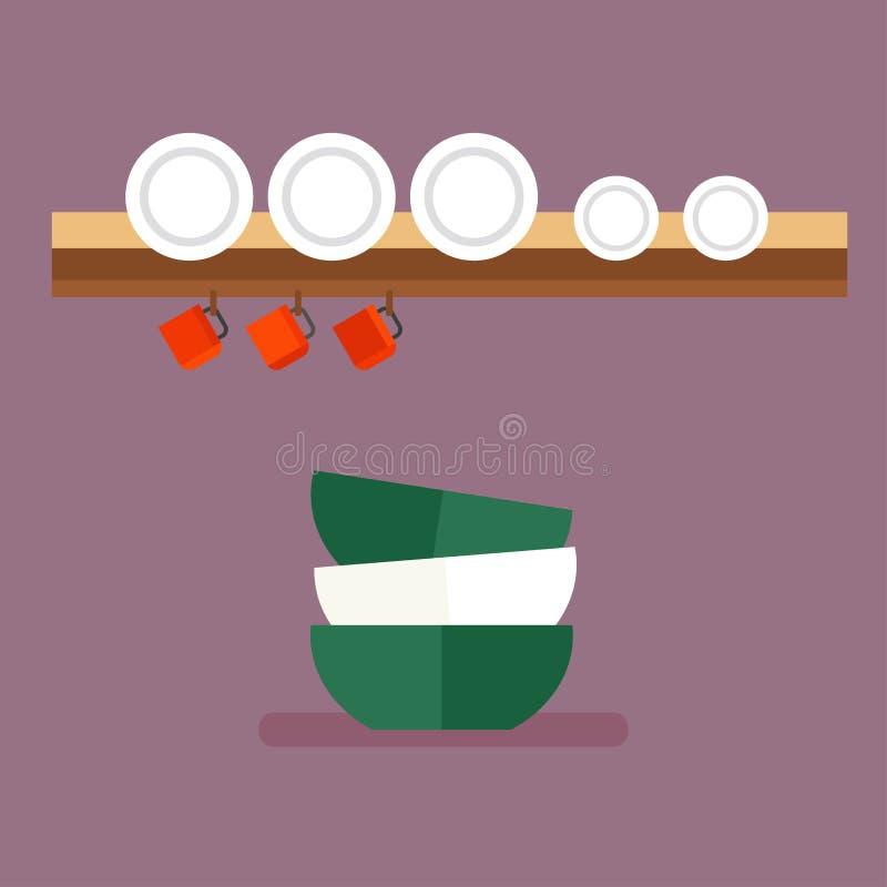 Czyści dishware wektoru ilustrację ilustracji