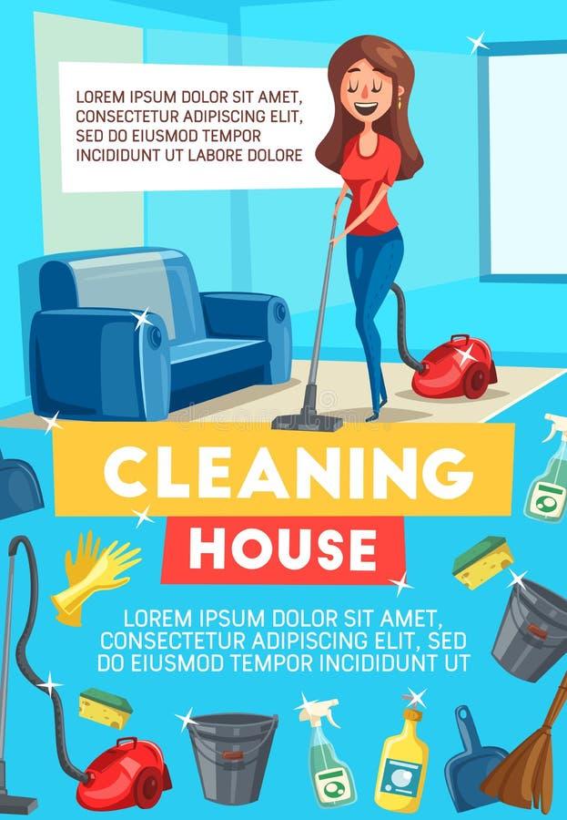 Czyści domowy sztandar z housekeeping rzeczami royalty ilustracja