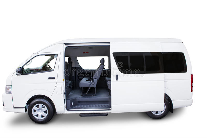 Czyści doręczeniowego samochód dostawczy odizolowywającego na bielu zdjęcie stock