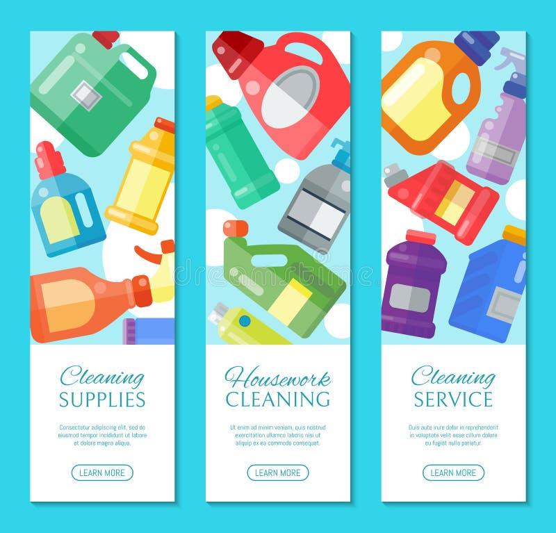 Czyści dostawa sztandaru gospodarstwa domowego butelki ciekłego detergentu produktu wektoru plastikowa ilustracja Czysty dezynfek ilustracji
