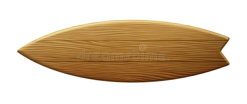 Czyści Drewnianego Surfboard ilustracja wektor