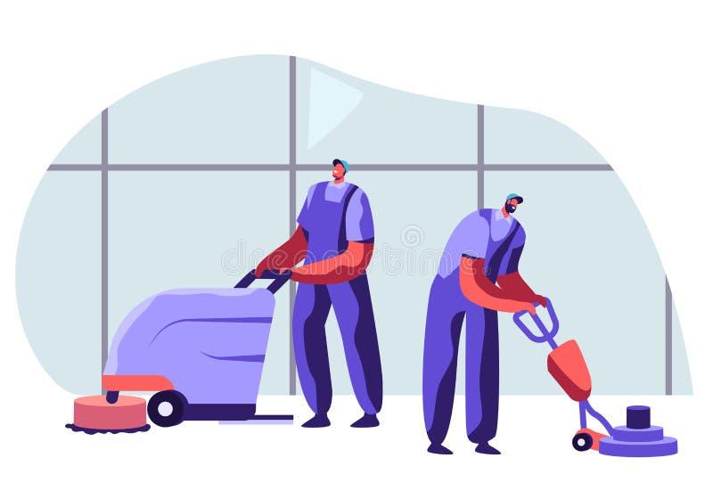 Czyści firma Pięcioliniowi Męscy charaktery w Jednolitym działaniu z wyposażeniem i Życzliwym ono Uśmiecha się, Fachowi Janitor p royalty ilustracja