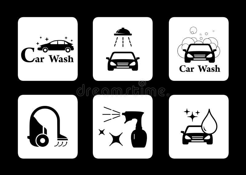 Czyści ikony samochodowego obmycia symbolu set ilustracja wektor