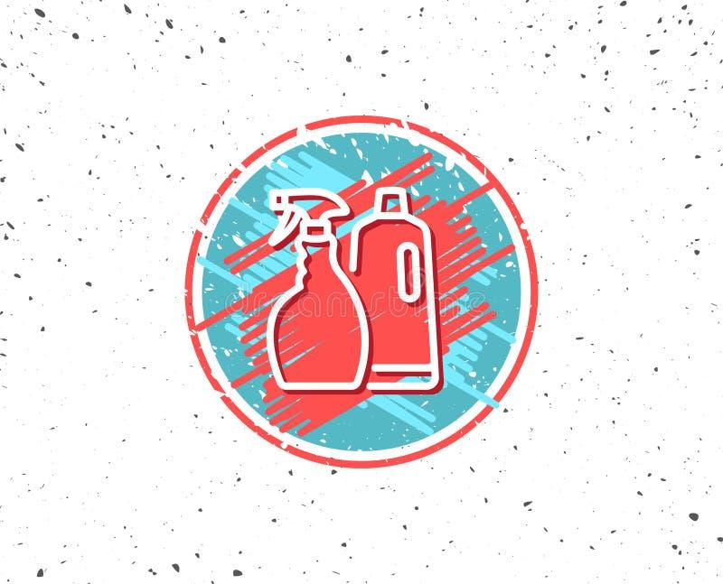 Czyści kiść i szampon kreskowa ikona cleanser royalty ilustracja