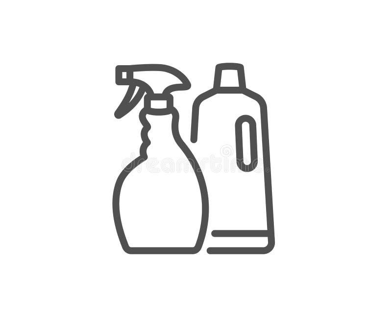 Czyści kiść i szampon kreskowa ikona cleanser ilustracja wektor