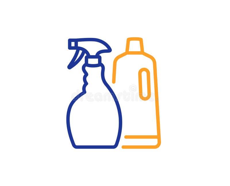 Czyści kiść i szampon kreskowa ikona cleanser wektor ilustracji