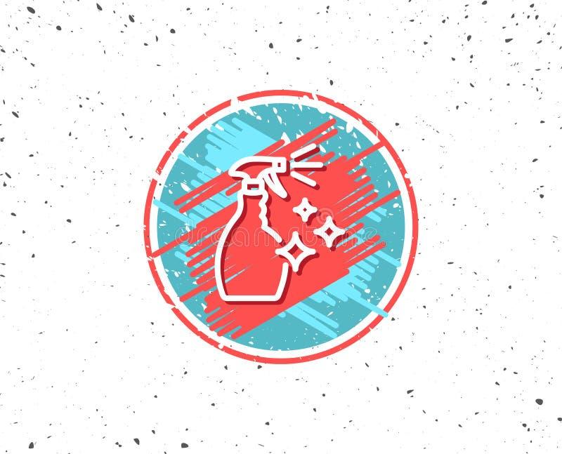 Czyści kiści kreskowa ikona Płuczkowy ciecz ilustracja wektor