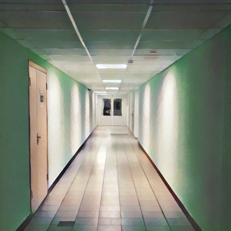 Czyści korytarz prowadzi zamknięci drzwi Cyfrowej ilustracja szkoły lub budynku biurowego wnętrze ilustracja wektor