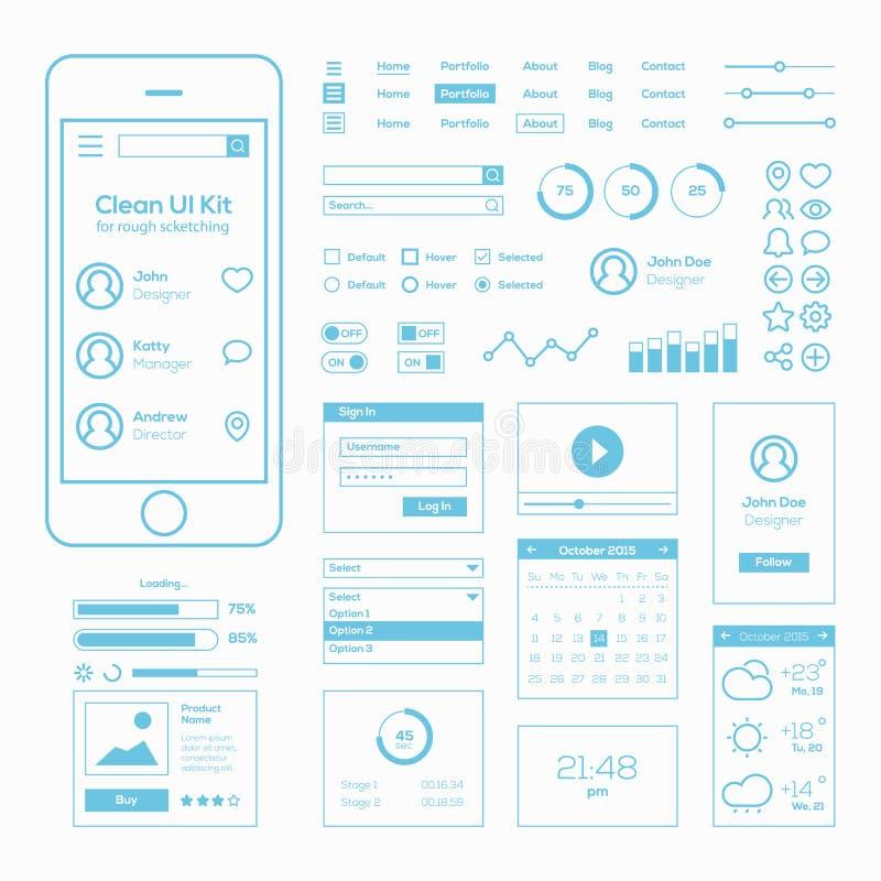 Czyści Mobilnego sieci UI zestaw royalty ilustracja