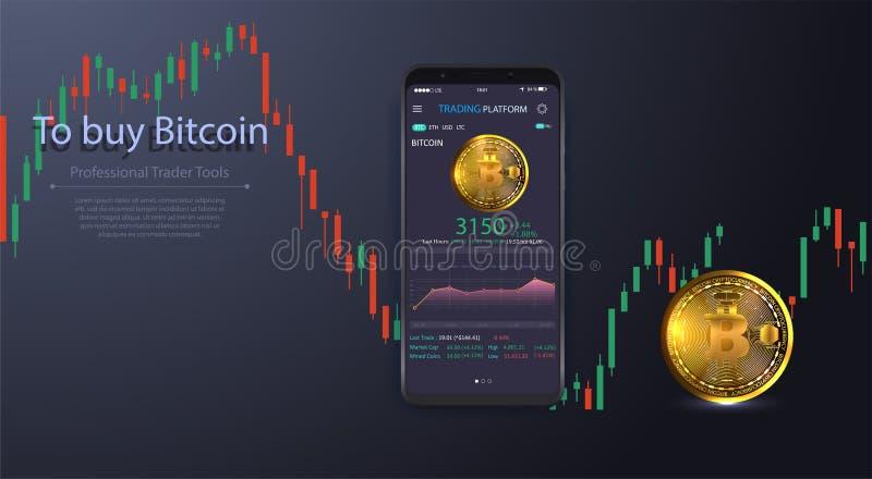 Czyści Mobilnego UI projekta pojęcie Modna Mobilna bankowość Cryptocurrency technologia Bitcoin wymiana Pieniężne analityka _ royalty ilustracja