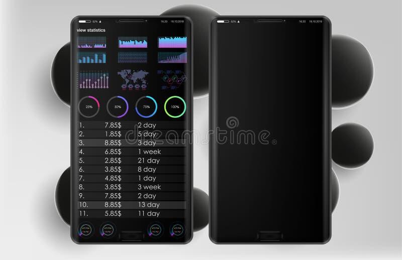 Czyści Mobilnego UI projekta pojęcie Modna Mobilna bankowość Cryptocurrency technologia Bitcoin wymiana Pieniężne analityka Handl ilustracja wektor