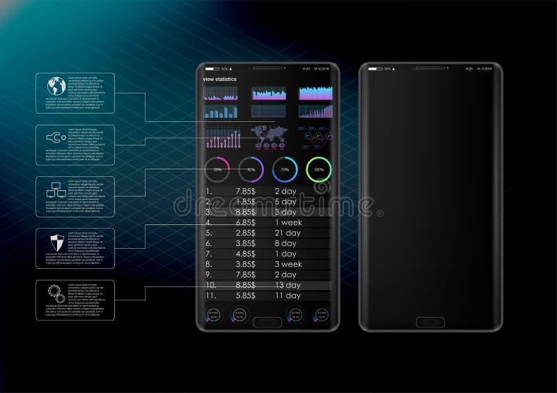 Czyści Mobilnego UI projekta pojęcie Modna Mobilna bankowość Cryptocurrency technologia Bitcoin wymiana Pieniężne analityka Handl royalty ilustracja