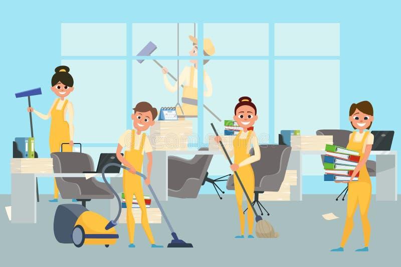 Czyści pięcioliniowa drużyna w biurowej wektorowej ilustracji ilustracji