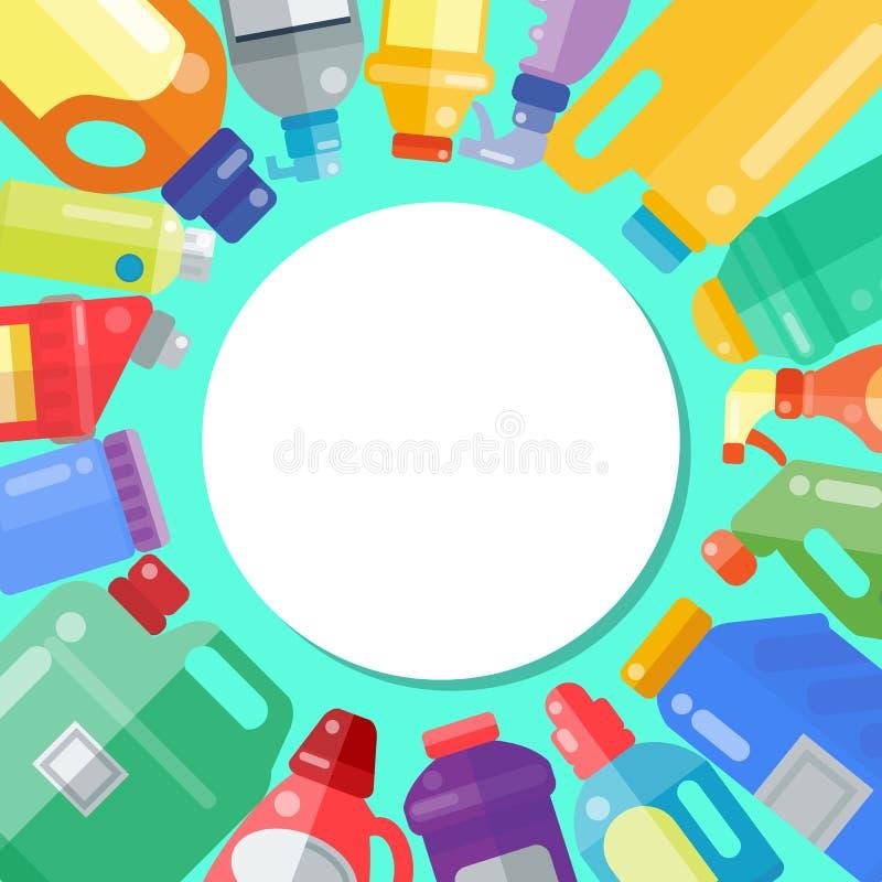 Czyści produktu gospodarstwa domowego butelki ciekłego detergentu produktu wektoru plastikowa ilustracja Sprz?tanie dostawy clean ilustracji
