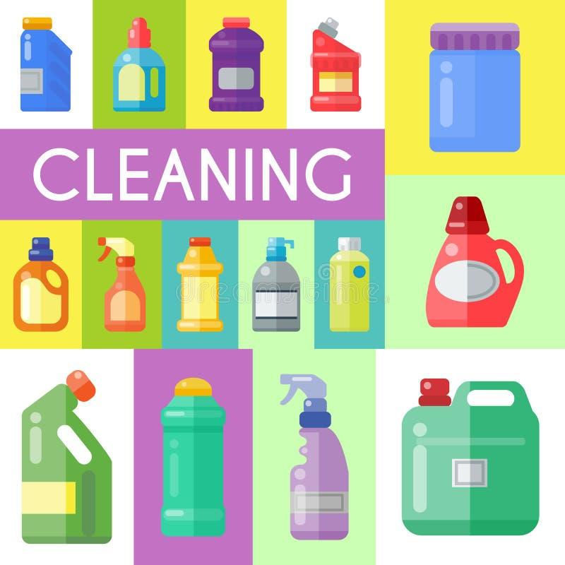 Czyści produktu gospodarstwa domowego plakatowej butelki ciekłego detergentu produktu wektoru plastikowa ilustracja Czysty dezynf royalty ilustracja