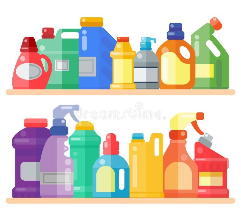 Czyści produkty na szelfowym gospodarstwie domowym butelkują plastikową ciekłego detergentu produktu wektoru ilustrację Czysty de ilustracji