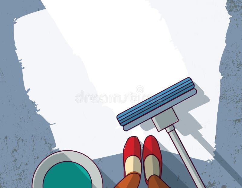 Czyści przedmiota cleaner podłogowej kobiety pusty miejsce ilustracji