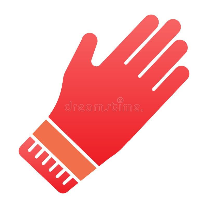 Czyści rękawiczki mieszkania ikona Gumowe rękawica koloru ikony w modnym mieszkaniu projektują Ogrodowy rękawiczkowy gradientu st royalty ilustracja