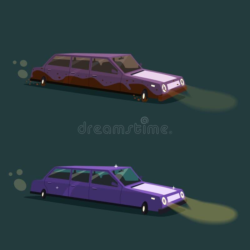 Czyści rocznika amerykanina limuzynę i brudzi obcy kreskówki kota ucieczek ilustraci dachu wektor royalty ilustracja