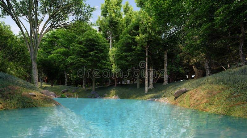 Czyści rzekę z błękitne wody w lesie przy dniem fotografia royalty free