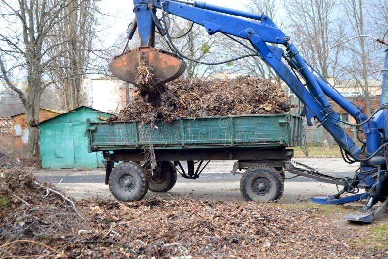 Czyści sucha trawa na miasto ulicach ładuje w ciężarową przyczepę i gałąź obraz royalty free
