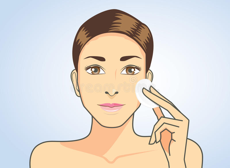 Czyści twarzy skóra z twarzową bawełną ilustracji